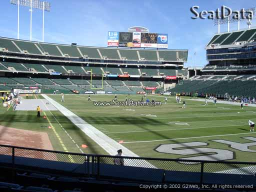 Seat view from section 109 at Oakland Coliseum, home of the Oakland Raiders