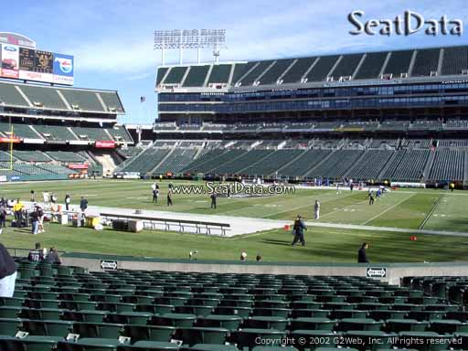 Seat view from section 114 at Oakland Coliseum, home of the Oakland Raiders