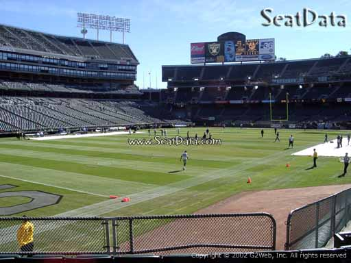 Seat view from section 124 at Oakland Coliseum, home of the Oakland Raiders
