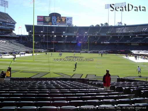 Seat view from section 127 at Oakland Coliseum, home of the Oakland Raiders