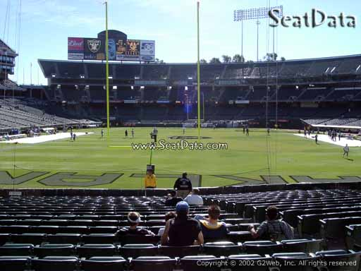 Seat view from section 128 at Oakland Coliseum, home of the Oakland Raiders