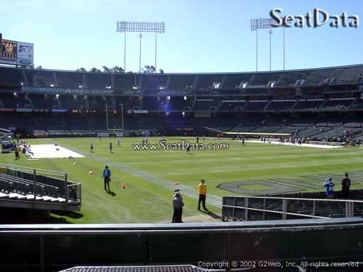 Seat view from section 132 at Oakland Coliseum, home of the Oakland Raiders