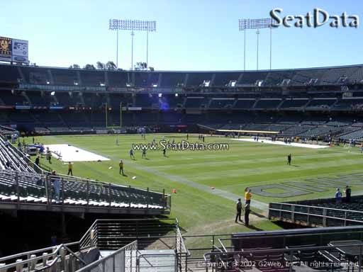 Seat view from section 133 at Oakland Coliseum, home of the Oakland Raiders