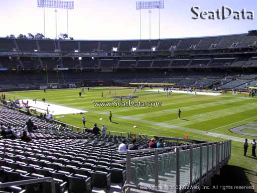 Seat view from section 134 at Oakland Coliseum, home of the Oakland Raiders