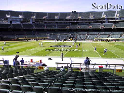 Seat view from section 141 at Oakland Coliseum, home of the Oakland Raiders