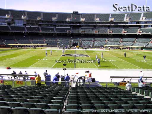 Seat view from section 142 at Oakland Coliseum, home of the Oakland Raiders