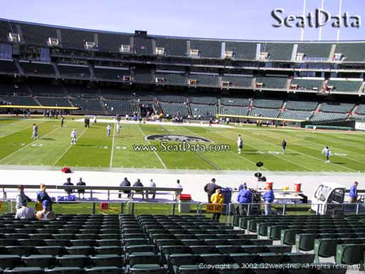 Seat view from section 143 at Oakland Coliseum, home of the Oakland Raiders