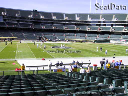 Seat view from section 144 at Oakland Coliseum, home of the Oakland Raiders