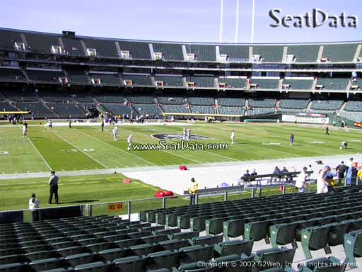 Seat view from section 145 at Oakland Coliseum, home of the Oakland Raiders