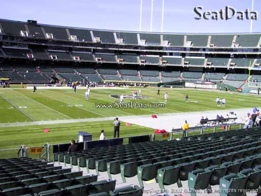Seat view from section 146 at Oakland Coliseum, home of the Oakland Raiders