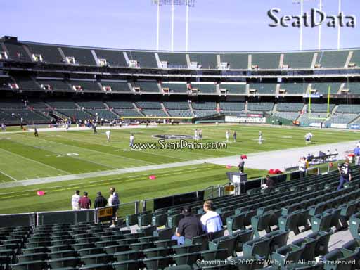 Seat view from section 147 at Oakland Coliseum, home of the Oakland Raiders