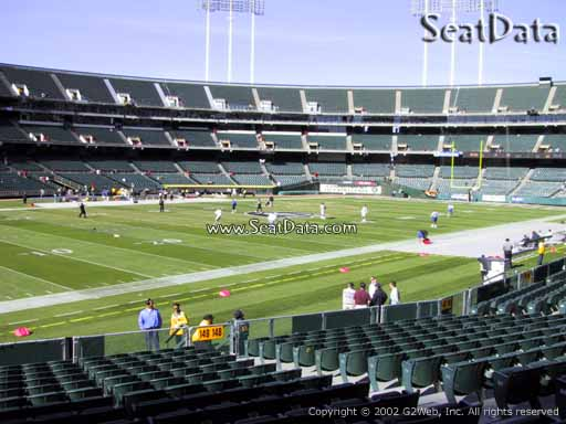 Seat view from section 149 at Oakland Coliseum, home of the Oakland Raiders