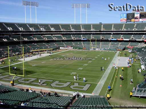 Seat view from section 203 at Oakland Coliseum, home of the Oakland Raiders