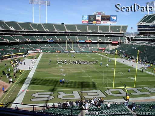 Seat view from section 207 at Oakland Coliseum, home of the Oakland Raiders