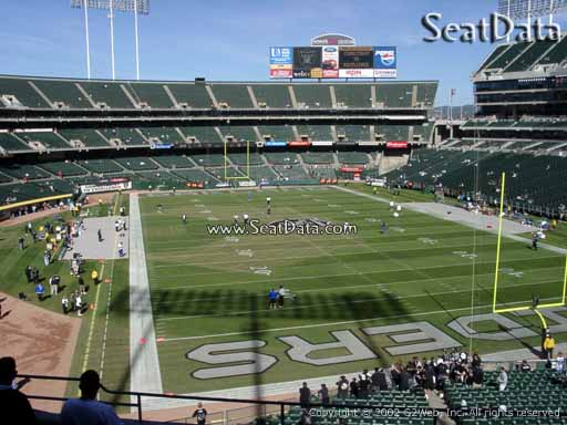 Seat view from section 208 at Oakland Coliseum, home of the Oakland Raiders