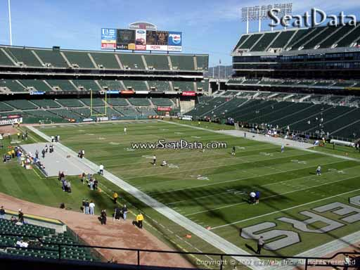 Seat view from section 210 at Oakland Coliseum, home of the Oakland Raiders
