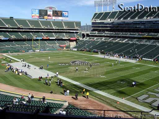 Seat view from section 211 at Oakland Coliseum, home of the Oakland Raiders