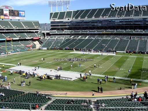 Seat view from section 214 at Oakland Coliseum, home of the Oakland Raiders