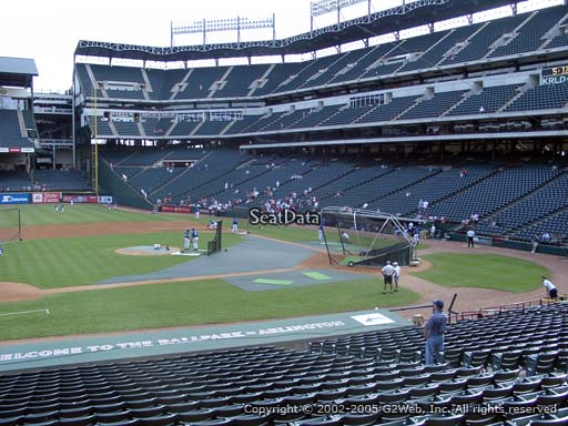 Seat view from section 19 at Globe Life Park in Arlington, home of the Texas Rangers