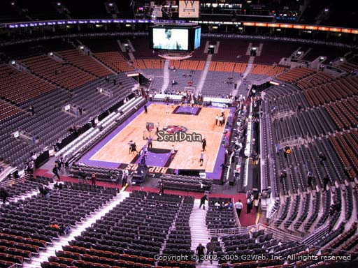 Seat view from section 302 at Scotiabank Arena, home of the Toronto Raptors