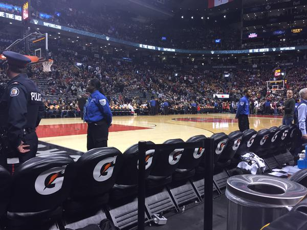 View from Courtside North at Scotiabank Arena, home of the Toronto Raptors