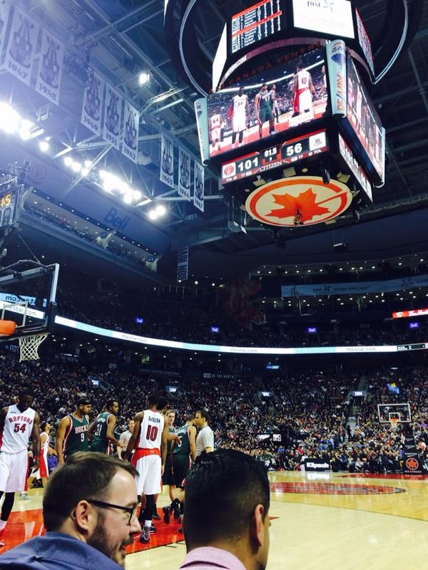 View from Courtside West at Scotiabank Arena, home of the Toronto Raptors
