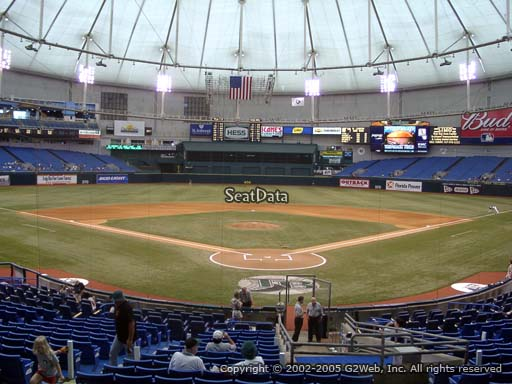 Seat view from section 101 at Tropicana Field, home of the Tampa Bay Rays