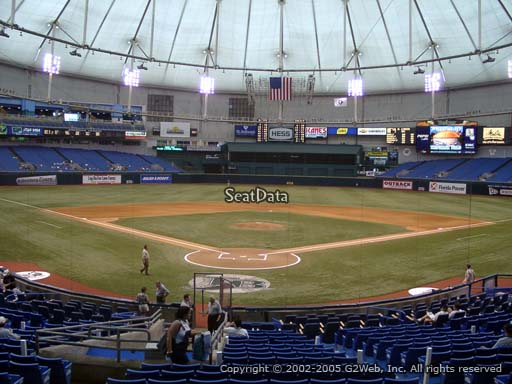 Seat view from section 102 at Tropicana Field, home of the Tampa Bay Rays