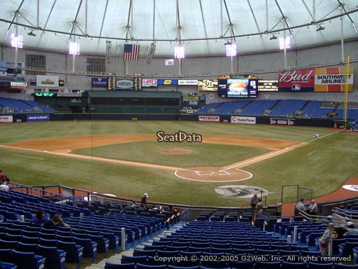 Seat view from section 103 at Tropicana Field, home of the Tampa Bay Rays