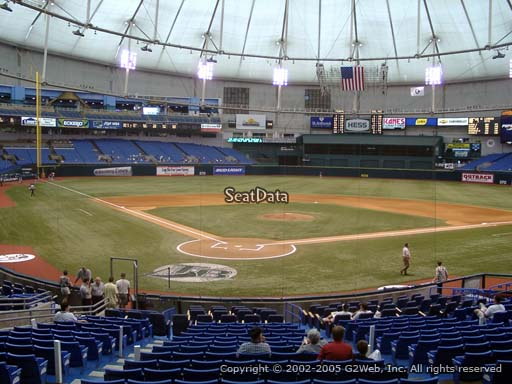Seat view from section 104 at Tropicana Field, home of the Tampa Bay Rays