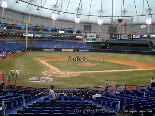 Seat view from section 106 at Tropicana Field, home of the Tampa Bay Rays