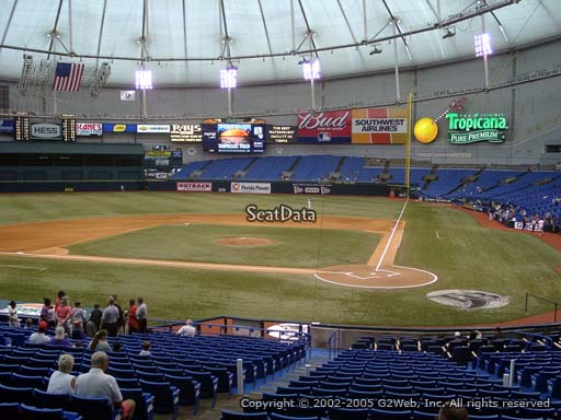 Seat view from section 107 at Tropicana Field, home of the Tampa Bay Rays