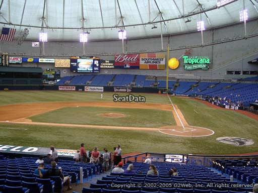 Seat view from section 109 at Tropicana Field, home of the Tampa Bay Rays