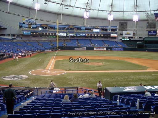 Seat view from section 110 at Tropicana Field, home of the Tampa Bay Rays