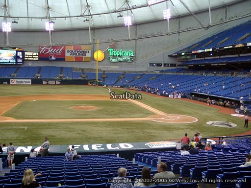 Seat view from section 113 at Tropicana Field, home of the Tampa Bay Rays