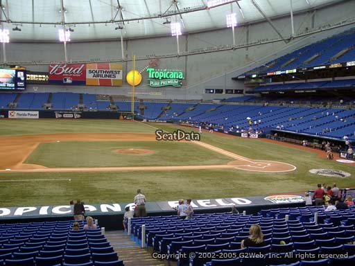 Seat view from section 115 at Tropicana Field, home of the Tampa Bay Rays