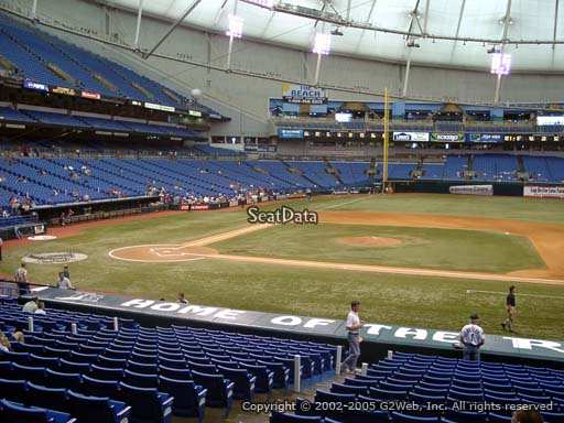 Seat view from section 116 at Tropicana Field, home of the Tampa Bay Rays