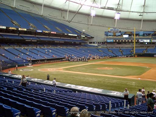 Seat view from section 120 at Tropicana Field, home of the Tampa Bay Rays