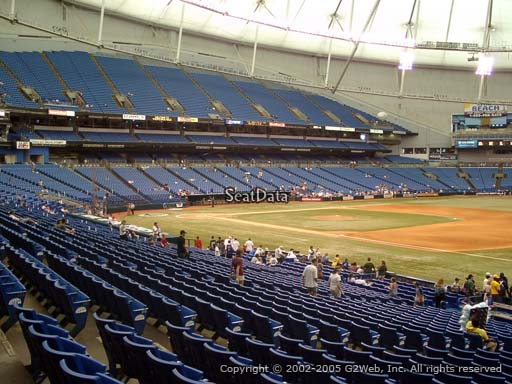 Seat view from section 128 at Tropicana Field, home of the Tampa Bay Rays