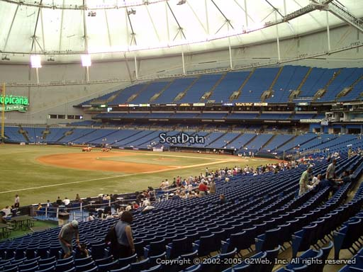 Seat view from section 131 at Tropicana Field, home of the Tampa Bay Rays