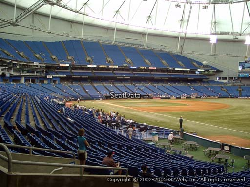 Seat view from section 134 at Tropicana Field, home of the Tampa Bay Rays