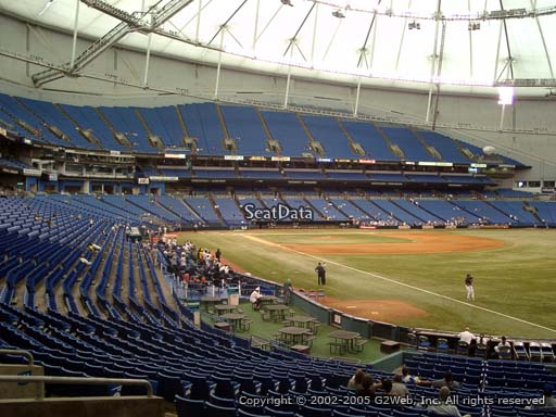 Seat view from section 136 at Tropicana Field, home of the Tampa Bay Rays