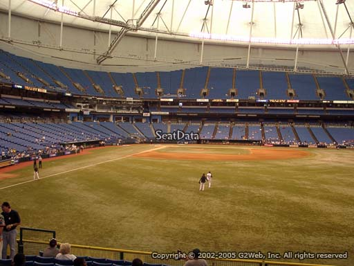 Seat view from section 144 at Tropicana Field, home of the Tampa Bay Rays