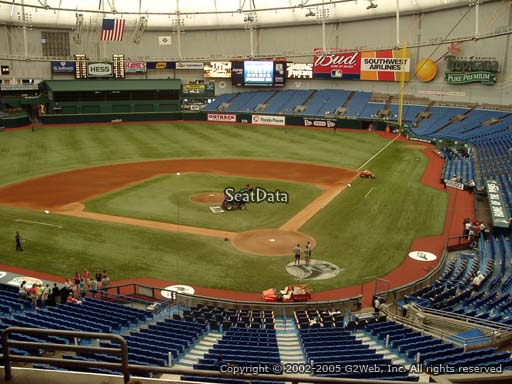 Seat view from section 203 at Tropicana Field, home of the Tampa Bay Rays