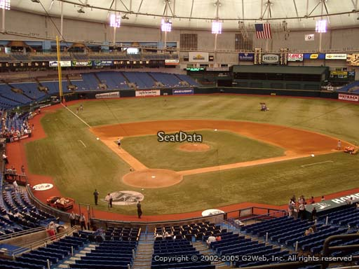 Seat view from section 204 at Tropicana Field, home of the Tampa Bay Rays