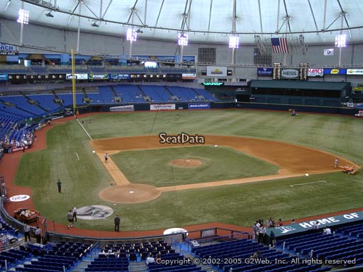 Seat view from section 206 at Tropicana Field, home of the Tampa Bay Rays