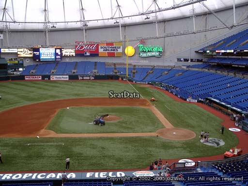 Seat view from section 209 at Tropicana Field, home of the Tampa Bay Rays