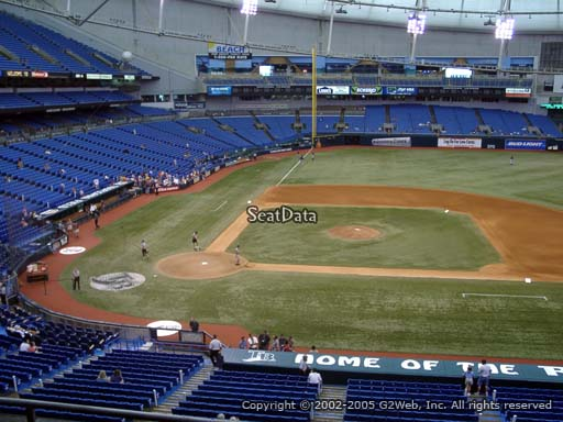 Seat view from section 210 at Tropicana Field, home of the Tampa Bay Rays