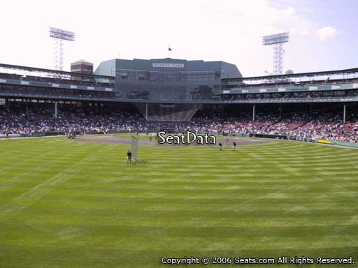 Seat view from bleacher section BL 34 at Fenway Park, home of the Boston Red Sox