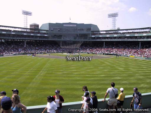 Seat view from bleacher section BL 35 at Fenway Park, home of the Boston Red Sox